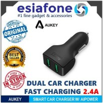 [esiafone #1 charger mobil] AUKEY Dual USB Ports Car Charger 2.4A with AIPOWER AK CC-S3 Original