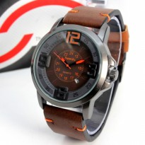 Jam Tangan Cowok Superdry Leather Dark Brown Grey