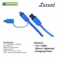 Hippo Lucent 2in1 100cm Kabel Charger Data Iphone 5 6 Micro Samsung