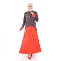 Jfashion Long Dress Gamis Maxi Krah Shanghai Variasi Seleting - Rosalinda