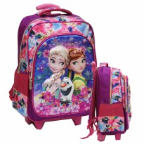 Tas Trolley SD Import Frozen Fever 5D Timbul Hologram 2 Kantung