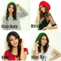 Cj collection Topi kupluk cap rajut wanita jumbo hat Ruby