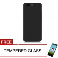 Case for OnePlus 5T - Slim Black Matte Hardcase +  Gratis Tempered Glass