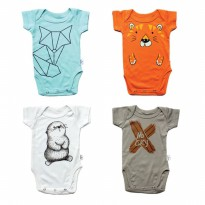 Paket 4 pcs | 0-2Y - KAZEL BODYSUIT/ JUMPER BAYI MOTIF FOX EDITION