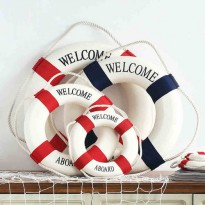 [globalbuy] Mediterranean Style welcome aboard Cotton Lifebuoy 1PC Bar Living Room Nautica/3377790