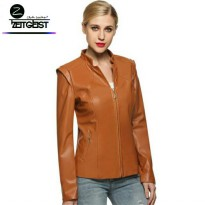 ZEITGEIST CASUAL FEMALE COLLAR ZIPPED JAKET KULIT SINTETIS (NW-098)