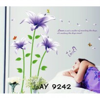 Wallsticker Uk.60x90 Wallstiker Bunga Ungu Love Sweetheart