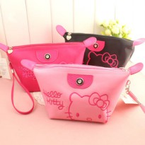 HELLO KITTY ] TAS KOSMETIK HELLO KITTY BORDIR PLUS TALI TERMURAH