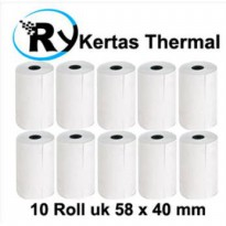 Paket hemat kertas thermal printer uk 58 x 40 mm 10 roll SJ0049