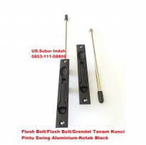 Flush Bolt/Flash Bolt/Grendel Tanam Kunci Pintu Swing Aluminium-Kotak Black