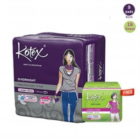 [25pads] KOTEX Overnight 32 Cm isi 9, Liner Longer & Wider Unscented isi 16