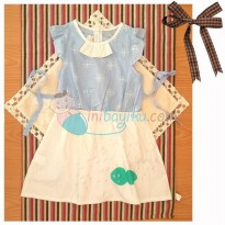 Kiddie Wear Milky Lace Dress Size 13 Color Blue For Girls Age 5YR - 6YR