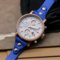 Jam Tangan Wanita FossiL Date Leather Blue