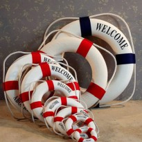 [globalbuy] 50CM Mediterranean style welcome aboard Big Size Cotton Lifebuoy Bar Living Ro/3300652