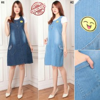 Cj collection Dress jeans maxy pendek wanita jumbo mini dress Serafin