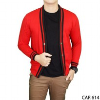 Cardigan Fleece Merah Basic Polos Panjang Pria Fleece Merah – CAR 614