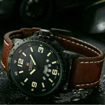 Jam Tangan Pria Naviforce Day Date Leather Dark Brown OriginaLL(gshock/digitec/fossil/rolex)