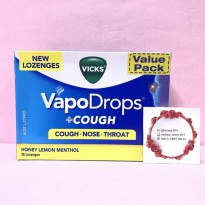 Vicks Vapodrops Cough Nose Throat - Honey Lemon Menthol 36 lozenges