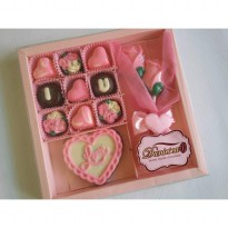 chocolate gift - I love you & buket bunga mawar