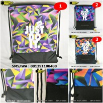 Tas Serut Drawstring Bag Gymsack Futsal Sepakbola Gym Olahraga Nike Just Do It Hitam Kombinasi