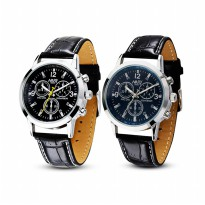 [FREE ONGKIR] 1PC Sport Military Quartz Dial Clock Men Leather Wrist Watch Round Case