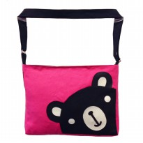Bugs Black bear canvas sling bag - Pink/Purple/Blue/Orange