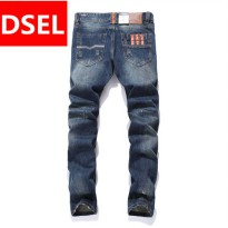 [globalbuy] Vintage Mens Jeans Straight Denim Orange Button Jeans Trousers Designer Logo D/4062267