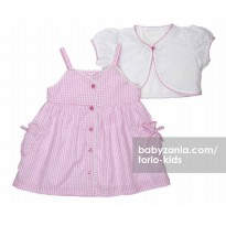 Torio Rosy Squares Dress & Vest Set