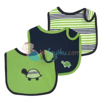 Yoga Sprout Baby Bibs Turtle (3pcs) One Color Navy Blue & Green