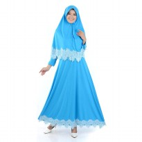 Jfashion Long Dress Gamis Maxi Variasi Renda PLus Hijab - Hasinah