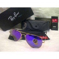 Kacamata Sunglass Rayban Aviator Diamond Ungu list gold