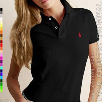 POLO COUNTRY Original C6-11 Kaos Polo Wanita Cotton Lycra Hitam