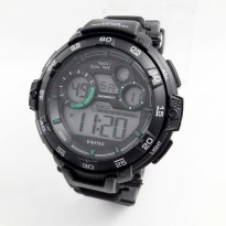 Jam Tangan Pria Digitec Digital Ori Anti Air Black Cover Lingkar(Green