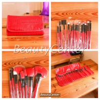 [Promo Gajian] Kuas Set Make Up For You Merah / 24pcs / Brush Set / Dompet