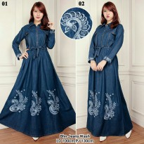 Dress maxy panjang jeans wanita jumbo long dress Renata