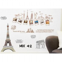 Stiker Dinding Mix Motif Frame With Eiffel