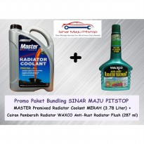 Paket Bundling MASTER Radiator Coolant Merah 3.78 Liter & WAXCO Anti-Rust Radiator Flush 287 ml
