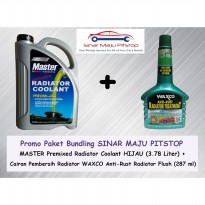 Paket Bundling MASTER Radiator Coolant Hijau 3.78 Liter & WAXCO Anti-Rust Radiator Flush 287 ml
