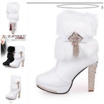 SHB8281-white High Heels Boots Fur 10.5CM