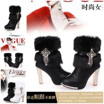 SHB8281-black High Heels Boots Fur 10.5CM