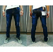 Celana Jeans Cheap Monday pria Ripped Blue