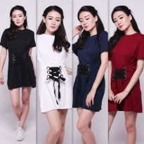 JO & NIC Lace Up Dress - Dress Mini Wanita - 4 Warna
