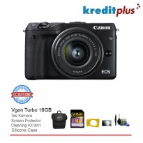 Canon Eos M3 Kit EF-M 15-45 IS STM + Free Aksessories Kamera