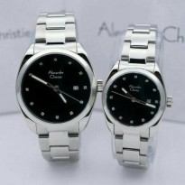 Jam TAngan Couple Alexandre Christie 8534 Silver Black