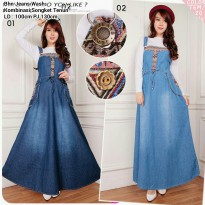 SB Collection Dress Maxi Alberga Gamis Overall Jeans Wanita