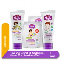 Sleek Travel Wash Lime 100 ml + Sleek Bottle Nipple 70 ml x2 + Sleek Baby Diapers Cream 80 ml