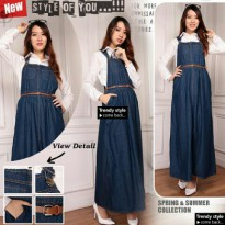 SB Collection Dress Maxi Shilla Gamis Overall Longdress Jeans Wanita