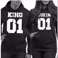 Men KING 01 Letter Print Long Sleeve Hooded Sweater Top Blouse Couple Shirt