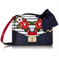 Aldo Buccini Stripe Flower Shoulder Bag - (2291- navy)