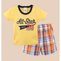 SECA37 - Setelan Baby Carter All Star Hero Yellow Tee + Celana Kotak